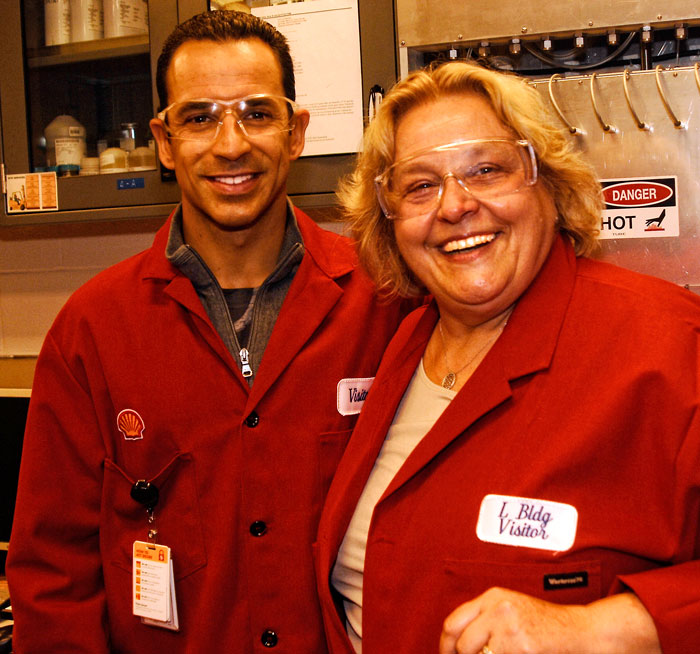 LandSpeed Louise and Penske Indycar driver Helio Castroneves at the Shell Technology Center in Houston, Texas